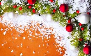 Картинка украшения, праздник, игрушки, Новый Год, Рождество, веточка ели