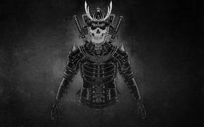 Картинка темный фон, воин, самурай, скелет, шлем, мечи