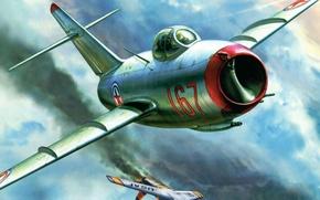 Картинка рисунок, истребитель, МиГ-15, Fagot, Николай Васильевич, ОКБ Микояна и Гуревича, Сутягин