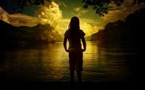 Картинка пейзаж, горы, природа, озеро, девочка