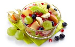 Картинка киви, черника, виноград, бананы, персик, grape, fruit, peach, гранат, blueberry, мандарин, фруктовый салат