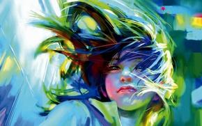 Картинка ветер, Девушка, арт