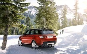 Картинка зима, машина, снег, деревья, горы, Land Rover, Range Rover, Sport, рендж ровер
