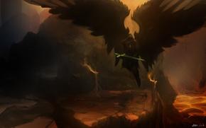 Картинка оружие, фантастика, крылья, ангел, арт, Alex Drummond, меч. скалы