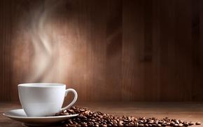 Картинка стол, кофе, зерна, чашка, белая, блюдце