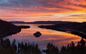 Картинка лес, озеро, весна, утро, Калифорния, США, Тахо, Март, горный хребт Сьерра-Невада, Mario Photography