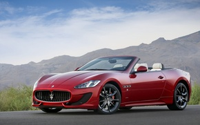 Картинка Кабриолет, Car, Red, Машина, Cars, Красный, Maserati, Sport, GranCabrio, Мазерати, Спорт, Автомобиль