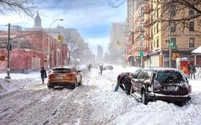 Обои зима, снег, обои, улица, буря, светофор, Infiniti, сугробы, wallpaper, Америка, непогода, нью-йорк, сша, инфинити, new ...