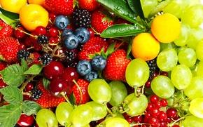 Обои вишня, ягоды, клубника, смородина, крыжовник