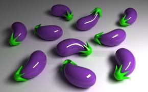 Обои 3-D, баклажаны, отражение, фиолетовый