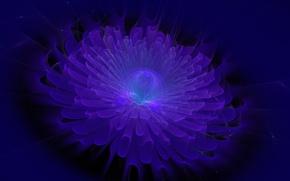 Картинка цветок, фиолетовый, листья, полосы, шар