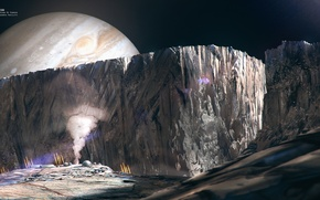 Картинка космос, поверхность, фантастика, планета, спутник