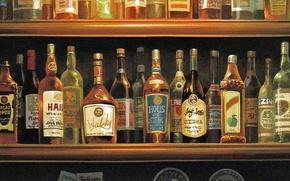 Картинка бар, бокалы, бутылки, много, полки, спиртное, porco rosso, by hayao miyazaki