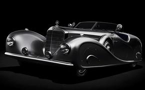 Картинка ретро, Roadster, Mercedes-Benz, Мерседес, полумрак, by Erdmann & Rossi, 1936, 500K, Stromlinien