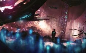 Картинка город, человек, art, Sci-Fi