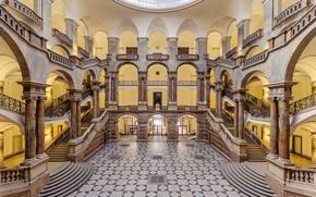 Картинка интерьер, пол, лестницы, статуя, строительные, штендеры