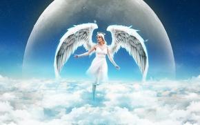 Картинка небо, девушка, облака, планета, крылья, ангел, нимб