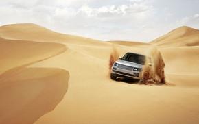 Обои внедорожник, пустыня, range rover, песок