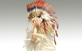 Картинка перья, скелет, парень, art, индеец, головной убор