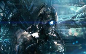 Обои Legion, Mass Effect 2, Легион, дыра, грусть, робот