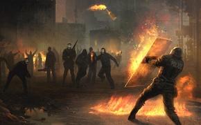 Обои митинг, полиция, огонь
