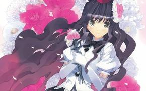 Картинка цветы, букет, перчатки, touhou, art, ueda ryou, aya shameimaru, длинные волоы