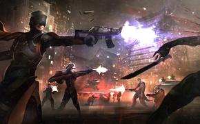 Обои оружие, мегаполис, схватка, город, банда, убийцы, бойня, преступники, бой, фантастика