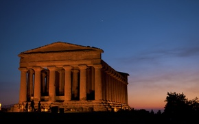 Картинка lights, sky, Italy, sunset, stars, people, silhouette, temple, Sicily, Agrigento, Valley of the Temples, Valle ...