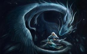 Картинка девушка, дракон, эльф, защита, лук, арт