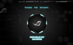 Картинка background, brand, asus, rog, republic of gamers, push to start