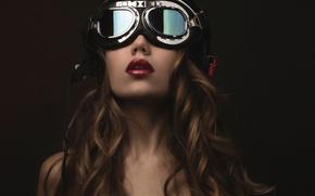 Картинка портрет, макияж, очки, шлем, fashion, Steampunk