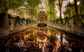 Обои зеркало, отражение, сад, Париж, деревья, Франция, фонтан Медичи