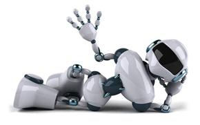 Картинка игрушка, робот, позитив, белый фон, Андроид, жест