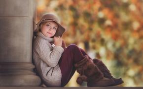 Картинка осень, шапка, портрет, девочка, сапожки