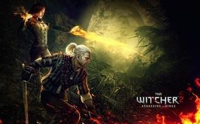 Картинка geralt, triss merigold, геральт из ривии, игни, The witcher 2 assassins of kings, ведьмак 2 …
