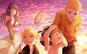 Картинка девушка, дети, парень, naruto, anime, art, Hyuuga Hinata, Uzumaki Naruto, uzumaki boruto, uzumaki himawari