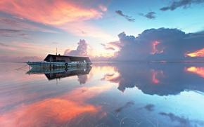 Картинка море, корабль, пейзаж, закат