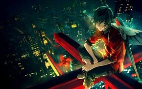 Картинка ночь, небоскребы, веревка, вертушка, парень, мегаполис, art, бумажный змей, Yuumei