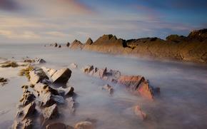Картинка море, небо, вода, свет, природа, камни, океан, скалы, игра, перелив