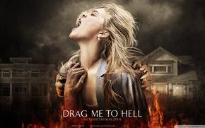 Картинка девушка, огонь, Затащи Меня в АД, Drag Me To Hell, демоны, кричит