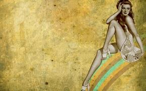 Картинка девушка, стиль, ретро, радуга, rainbow, girl, retro
