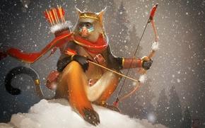 Картинка лук, арт, стрелы, обезьянка, Александра Хитрова, GaudiBuendia