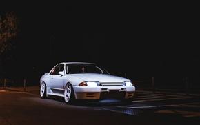 Картинка nissan, turbo, white, wheels, skyline, japan, jdm, tuning, night, gtr, power, low, r32, nismo, stance, …