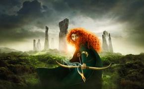 Обои лучница, the movie, принцесса, Храбрая сердцем, Scotland, Brave, Pixar, Пиксар, princess, red hair, Disney, film, ...