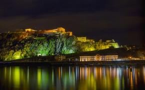 Обои Германия, ночь, фото, дома, Koblenz, река, город