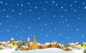 Картинка зима, снежинки, новый год, арт