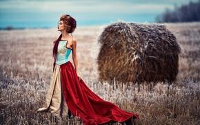 Картинка поле, девушка, платье, Alice Maximova, Russian winter