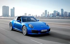 Картинка 2015, шоссе, тарга, город, трасса, порше, 911, Porsche, Targa 4S