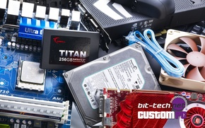 Картинка hardware, keyboard, hard drive, motherboard, cooler, video card, cables, solid hard disk