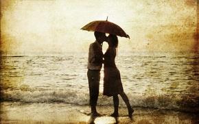 Картинка влюблённые, ретро, прибой, босиком, зонт, сепия, море, пара, мужчина, девушка